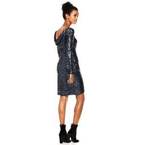 Calvin Klein Sequined Cowl-Back Blue Sheath Dress
